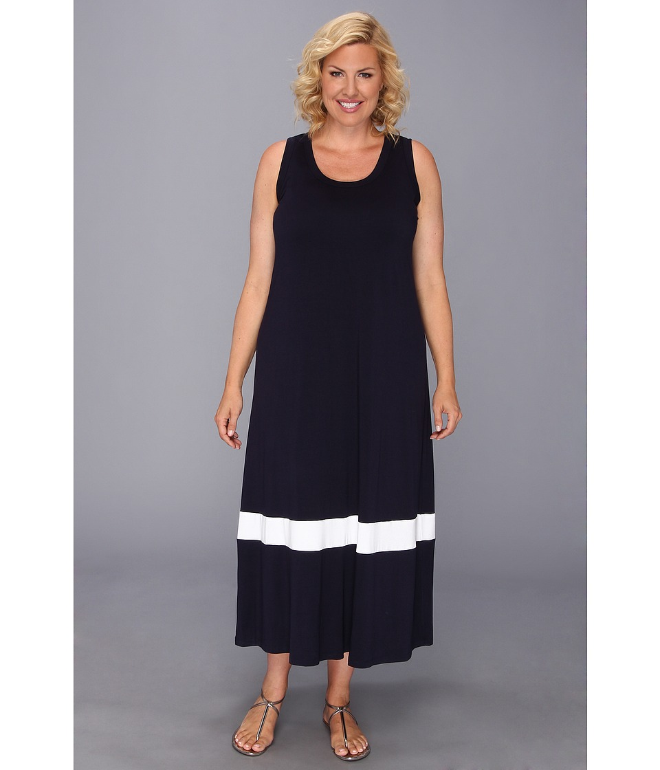 Karen Kane Plus Size Color Block Maxi Dress Womens Dress (White)
