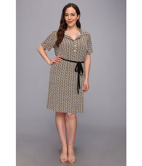 Karen Kane Plus - Plus Size Shirt Dress With Belt (Print) Women's Dress