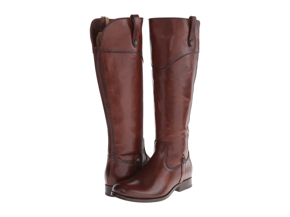 Frye Melissa Tab Tall Redwood Smooth Vintage Leather Womens Zip Boots