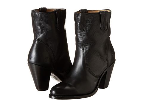 Frye - Mustang Stitch Short (Black Soft Vintage Leather) Cowboy Boots