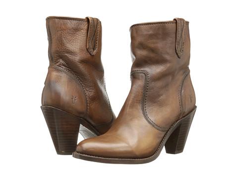 Frye - Mustang Stitch Short (Cognac Soft Vintage Leather) Cowboy Boots