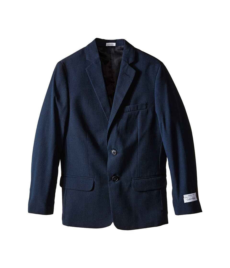 Calvin Klein Kids - Pinstripe Jacket (Big Kids) (Navy) Boy's Jacket