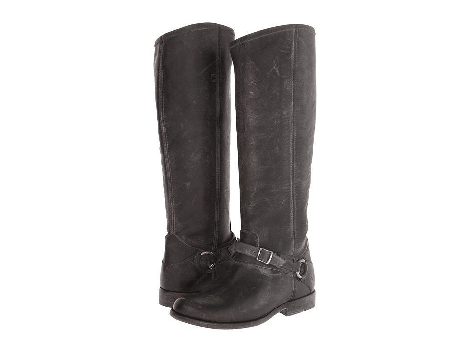 Frye - Phillip Ring Tall (Black Polished Stonewash) Women's Pull-on Boots