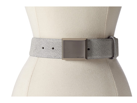 Calvin Klein - Logo Plaque Buckle (White Black) Women's Belts