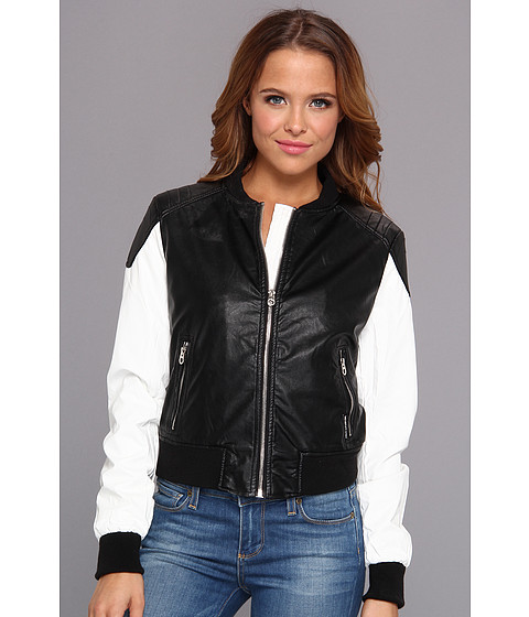 Members Only - Two-Tone Faux Leather Baseball Jacket (Black & White) Women