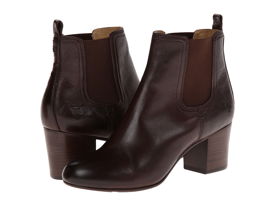 Frye - Stella Chelsea Short (Dark Brown Soft Vintage Leather) Women's Pull-on Boots