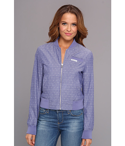 Members Only - Polka Dot Chambray Bomber Jacket (Denim Blue) Women's Coat