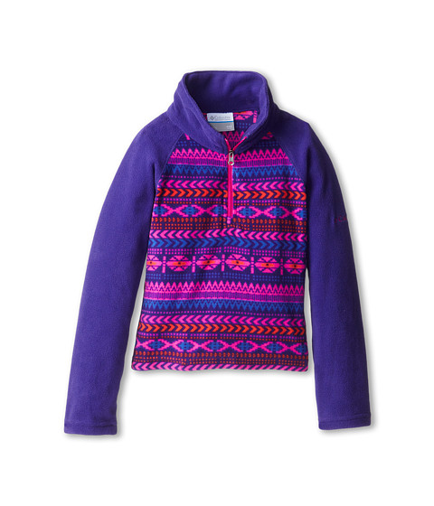 Columbia Kids - Glacial Printed Fleece Half Zip (Little Kids/Big Kids) (Hyper Purple Fairisle/Groovy Pink) Girl