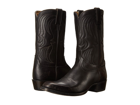 Frye - Daniel Flame Stitch (Black Polished Stonewash) Cowboy Boots
