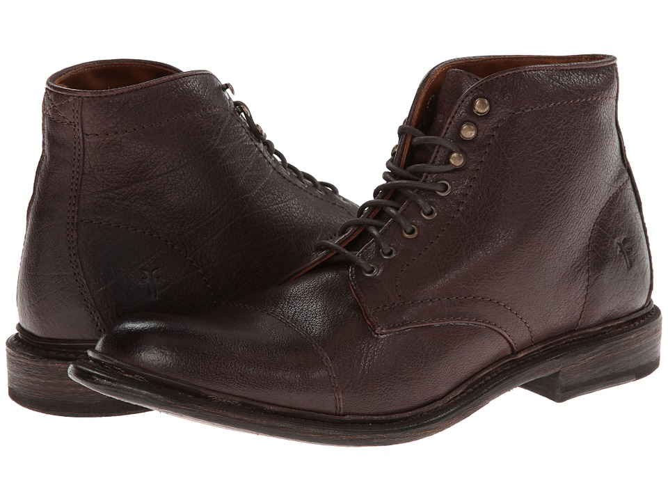 Frye Jack Lace Up (Dark Brown Buffalo Leather) Men