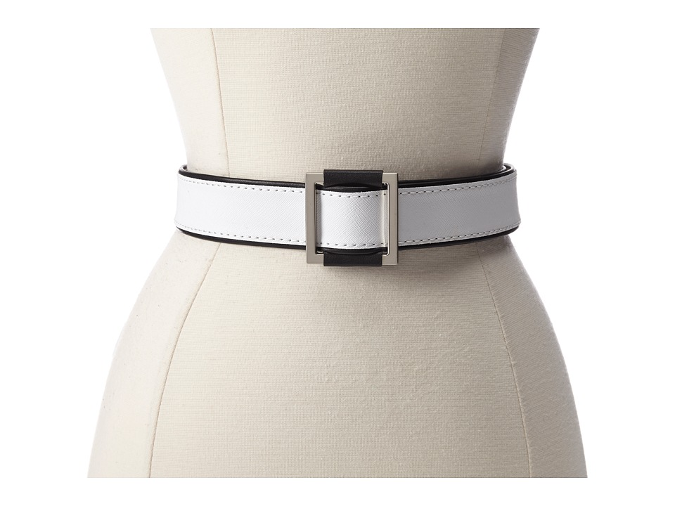 Vince Camuto - 38MM Saffiano Belt w/ Pull Buckle (White) Women's Belts