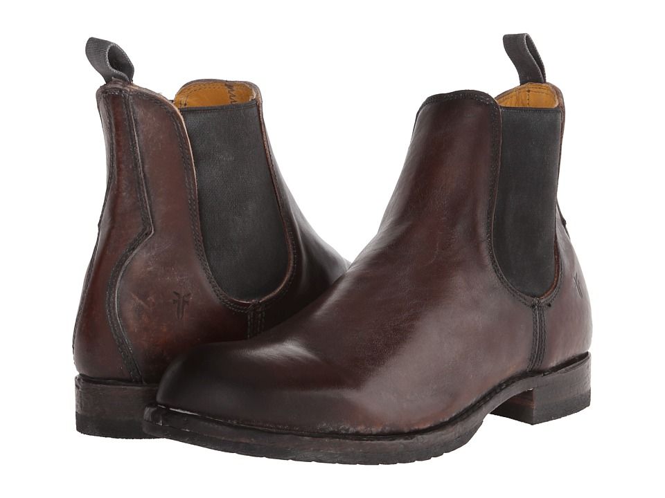 Frye Logan Chelsea (Dark Brown Polished Stonewash) Men