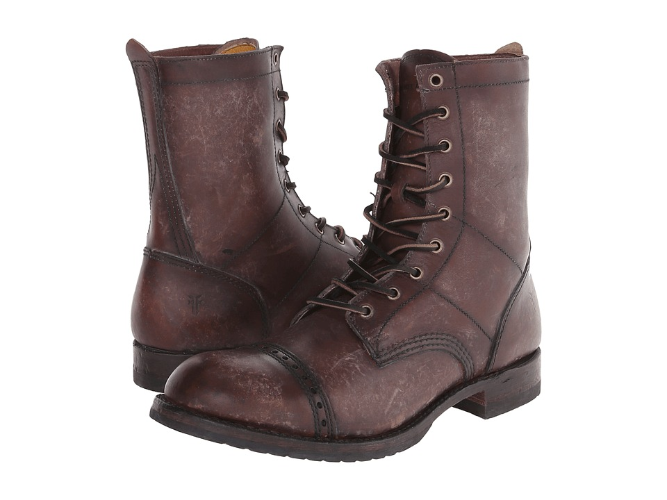 Frye - Logan Jump Boot (Dark Brown Polished Stonewash) Men's Lace-up Boots