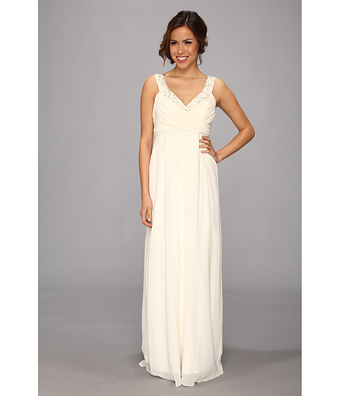 Nicole Miller - Double Face Satin Silk Georgette Bridal Gown (Antique White) Women