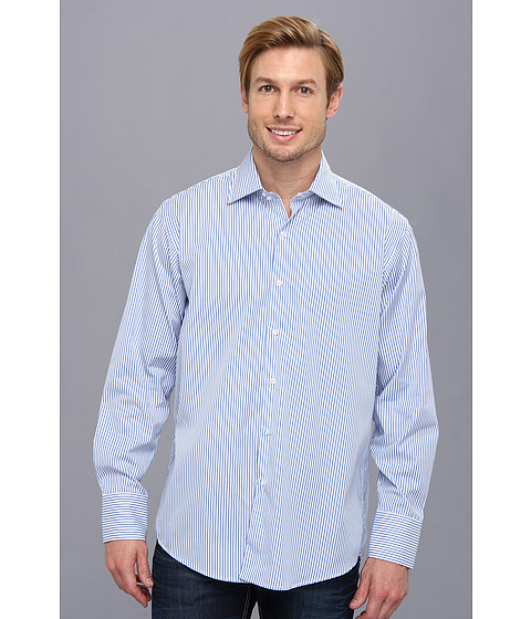 Culture Phit - Thomas Casual Shirt - Relaxed (Blue Stripe) Men's Long Sleeve Button Up