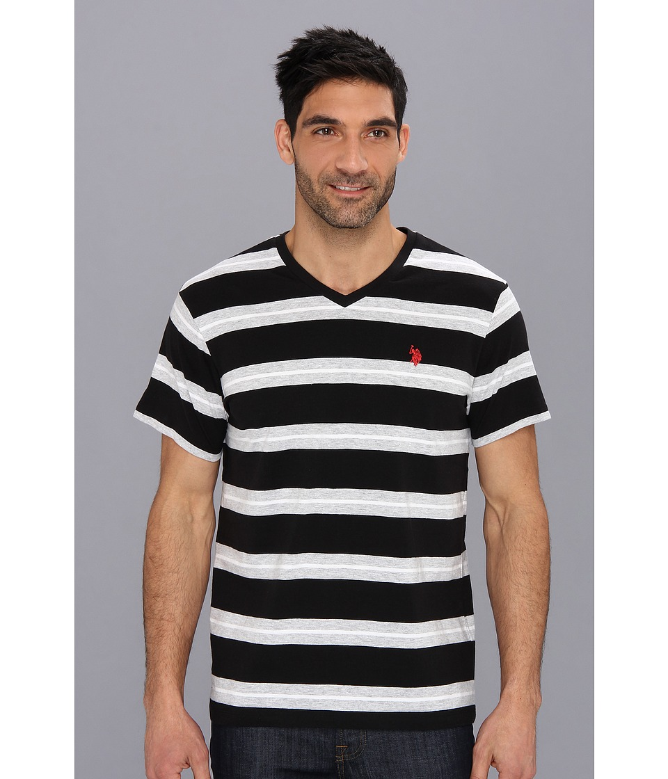 U.S. POLO ASSN. - Tricolor Stripe V-Neck T-Shirt (Black) Men's T Shirt