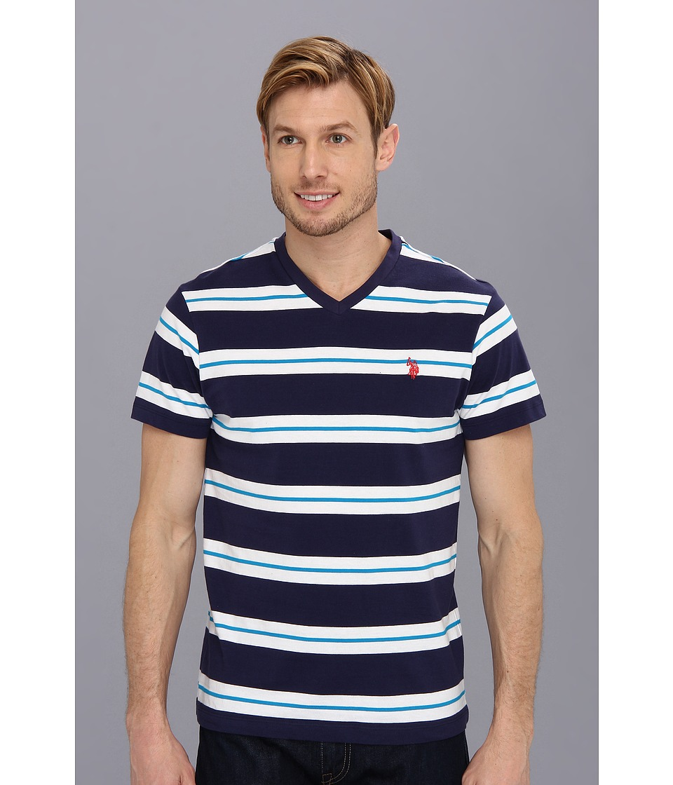 U.S. POLO ASSN. - Tricolor Stripe V-Neck T-Shirt (Classic Navy) Men's T Shirt