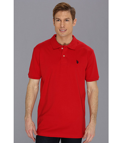 U.S. POLO ASSN. - Interlock Polo with Small Pony (Engine Red) Men's Short Sleeve Pullover