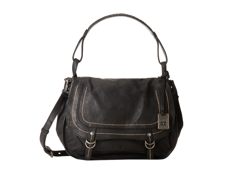 Frye - Anna Ring Hobo (Black Hammered Full Grain) Cross Body Handbags