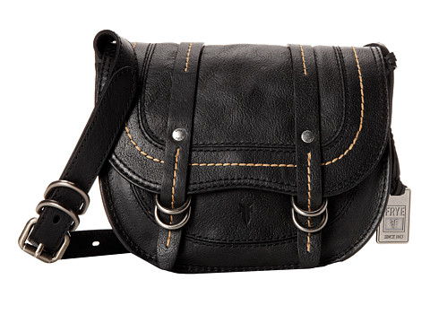 Frye - Anna Saddle (Black Hammered Full Grain) Cross Body Handbags
