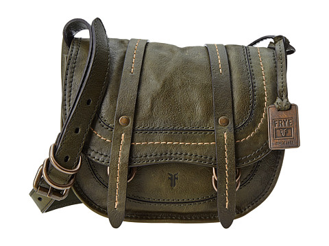 Frye - Anna Saddle (Green Hammered Full Grain) Cross Body Handbags