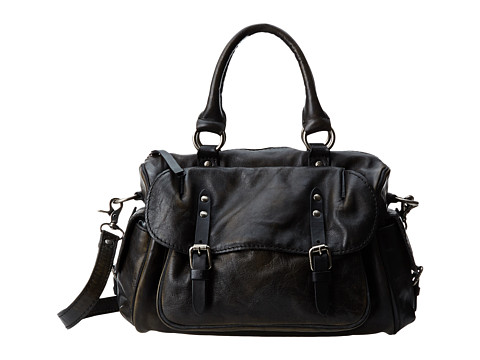 Frye - Veronica Satchel (Black Calf Shine Vintage) Satchel Handbags