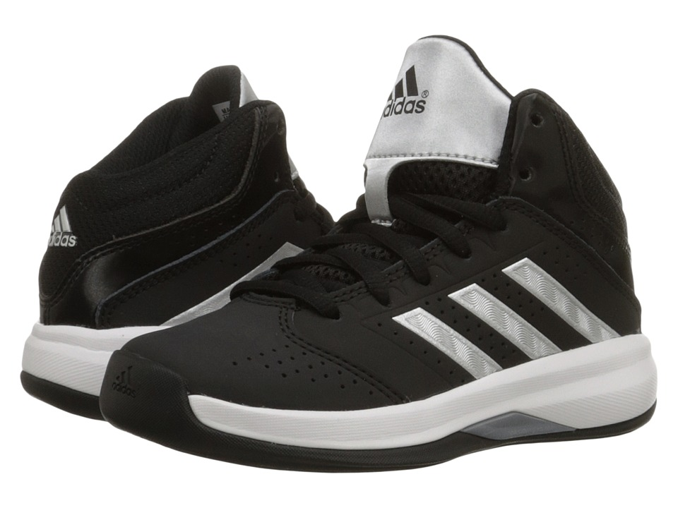 adidas Kids Isolation 2 (Little Kid/Big Kid) (Black/Silver Metallic/Core White) Boys Shoes