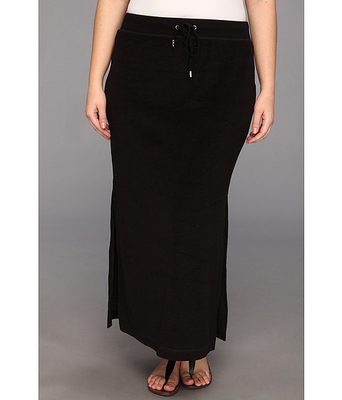 MICHAEL Michael Kors - Plus Size Terry Cloth Maxi Skirt w/ Side Slits (Black/Silver) Women's Skirt