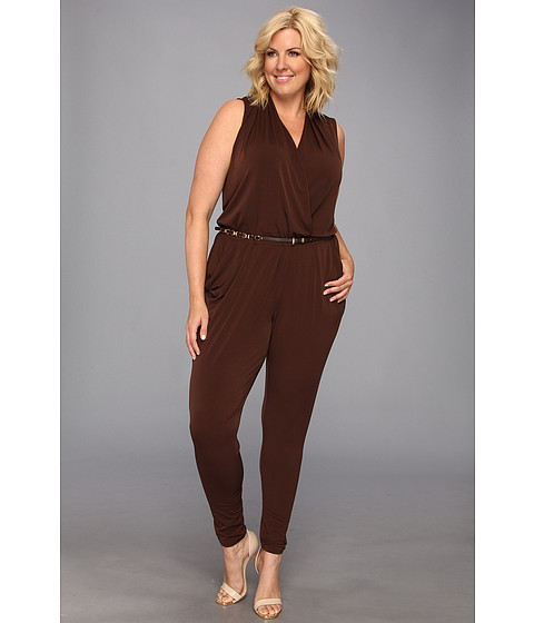 MICHAEL Michael Kors - Plus Size S/L Belted Jumpsuit (Chocolate) Women