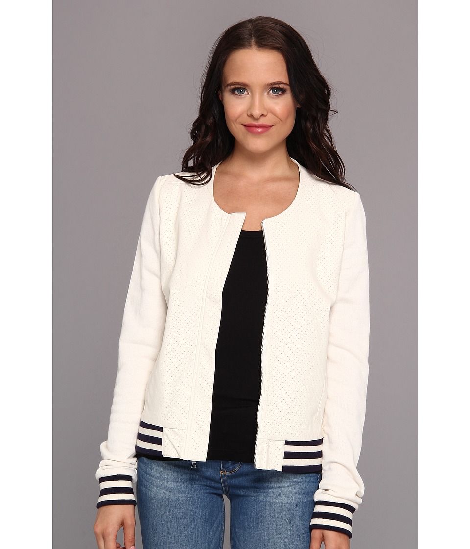 Townsen - Perforated Baseball Jacket (White) Women's Coat