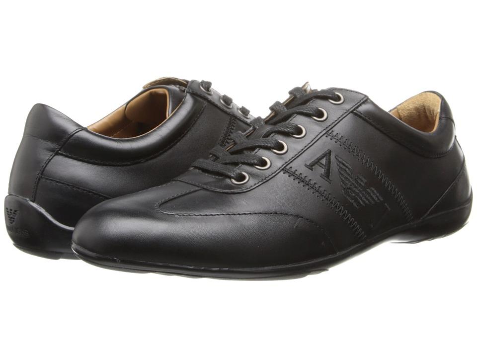 Armani Jeans - Leather Lace-Up Driver (Black) Men's Lace up casual Shoes