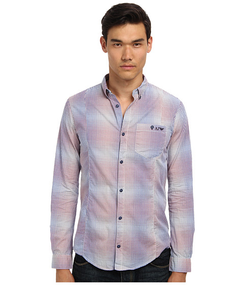 Armani Jeans - Yarn Dyed Cotton Check Faded Effect Shirt (Checkered) Men's Long Sleeve Button Up