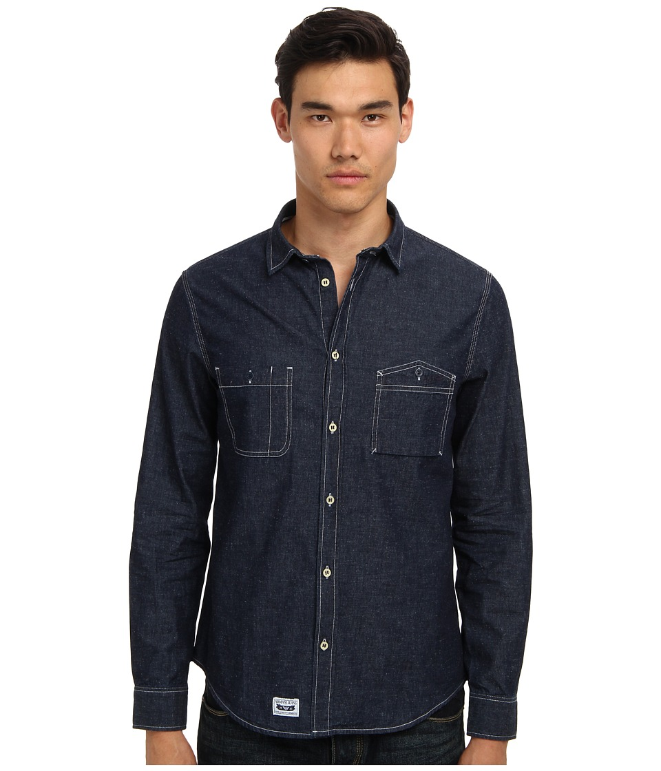 Armani Jeans - Denim Shirt (Indigo) Men's Long Sleeve Button Up