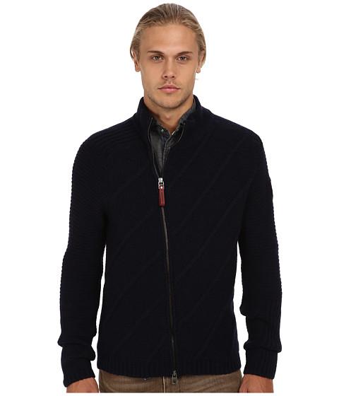 Armani Jeans - Cable Knit Cardigan (Blue) Men's Sweater