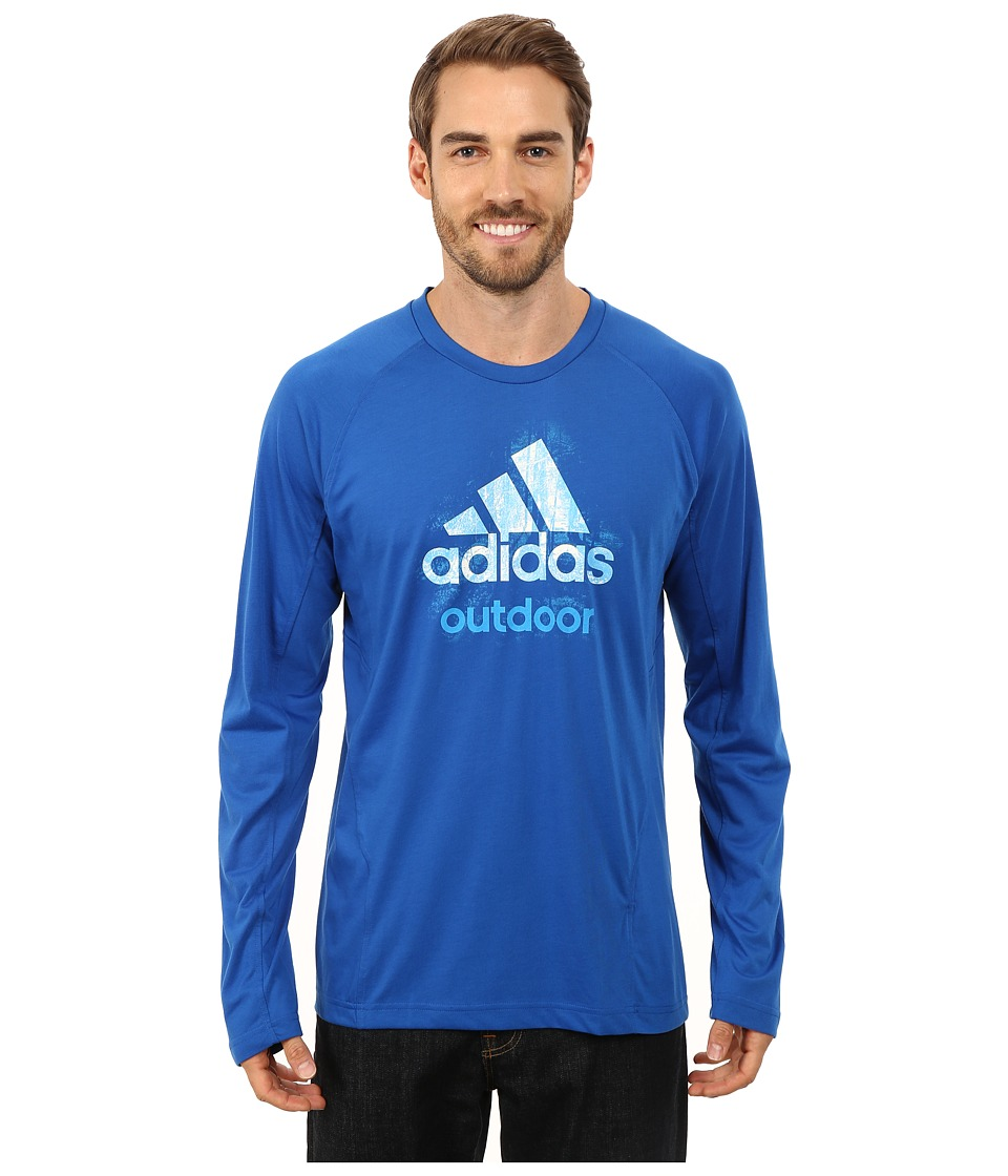 adidas Outdoor - Hiking Dri-Release Logo Long Sleeve Tee (Blue Beauty) Men's Long Sleeve Pullover