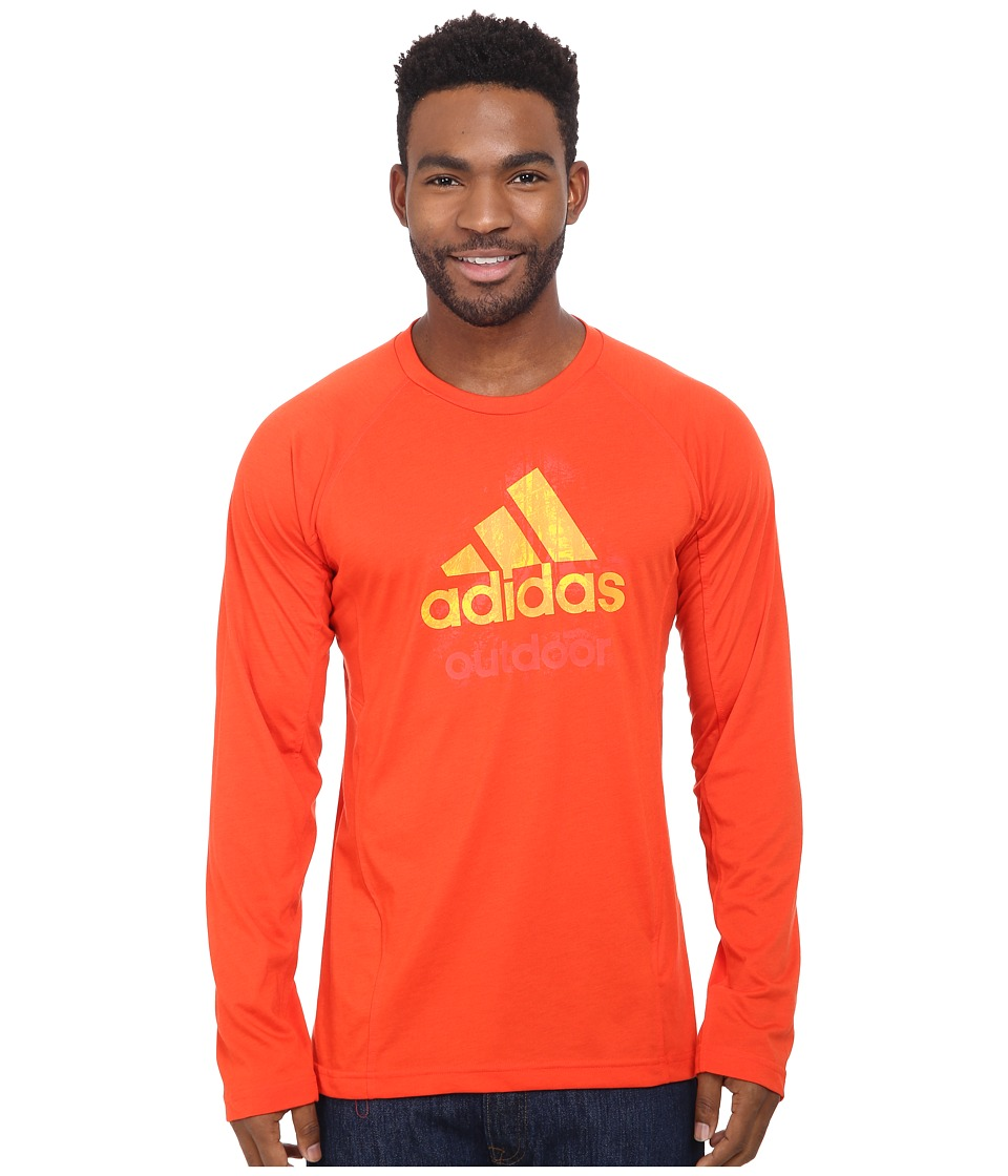adidas Outdoor - Hiking Dri-Release Logo Long Sleeve Tee (Dark Orange/Dark Orange/Graphite) Men