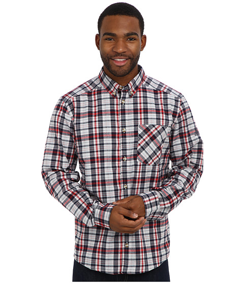 adidas Outdoor - Hiking Flannel Long Sleeve Shirt (University Red) Men's Long Sleeve Button Up