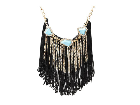 Sam Edelman - On The Road Fringe Stone Collar 16 Necklace (Turquoise) Necklace