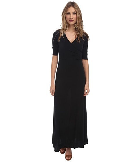 Christin Michaels - Ali 3/4 Sleeve Wrap Dress (Black) Women's Dress