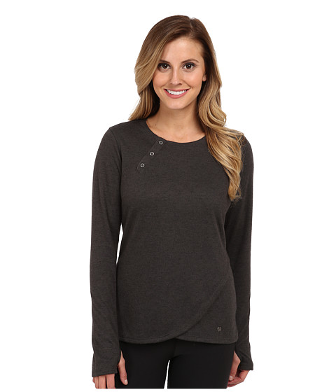 Brooks - PureProject Henley L/S (Heather Black/Black) Women's Workout