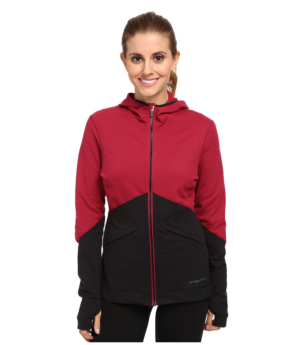 Brooks - Utopia Thermal Hoodie III (Jam/Black) Women's Long Sleeve Pullover
