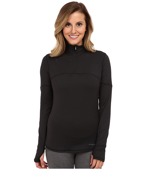 Brooks - Essential L/S Half Zip III (Black) Women's Workout