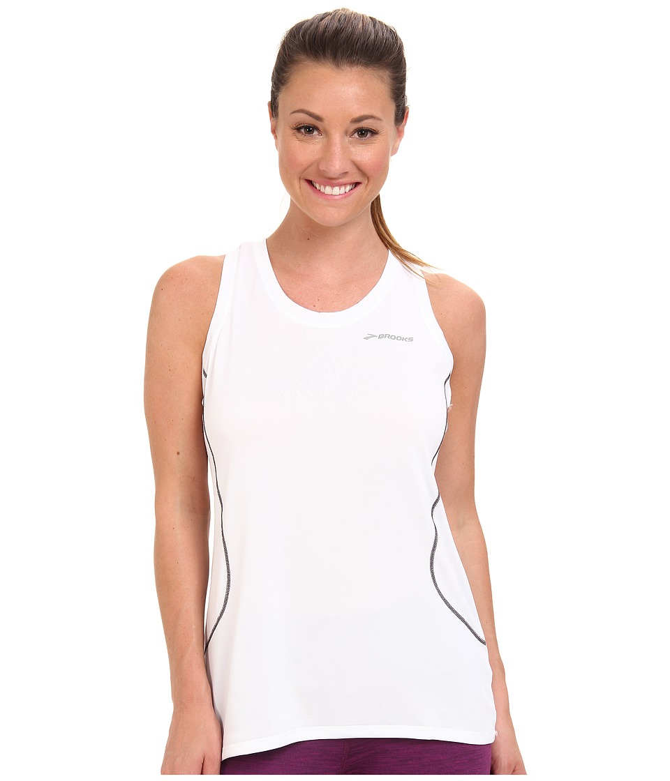 Brooks - Versatile Printed Racerback (White) Women's Sleeveless