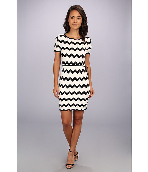 Trina Turk - Carlotta Sweater Dress (White/Black) Women's Dress