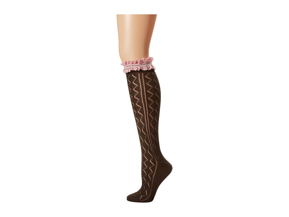 M&F Western - Blazin Roxx Fashion Sock (Brown Zigzag/Pink) Women's Knee High Socks Shoes