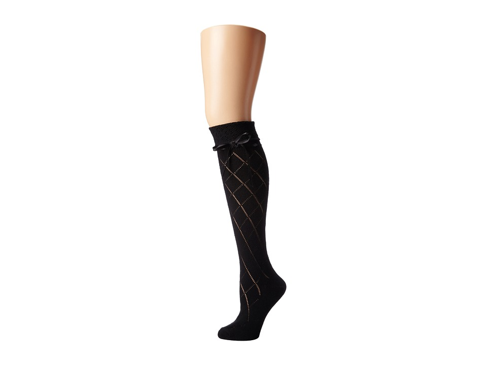M&F Western - Blazin Roxx Fashion Sock (Black Diamond w/Bow) Women's Knee High Socks Shoes