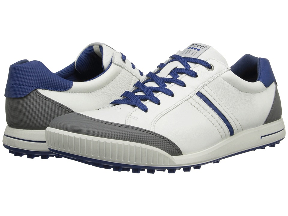 ECCO Golf - Street Hybrid (White/Titanium/Royal) Men's Golf Shoes