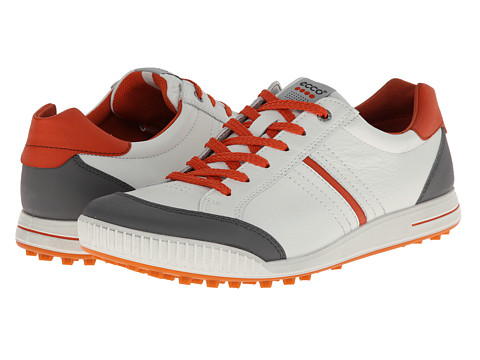 ECCO Golf - Street Hybrid (White/Titanium/Orange) Men's Golf Shoes