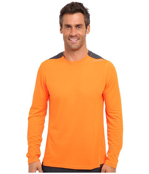 Brooks - Rev L/S Top (Brite Orange/Anthracite) Men's Long Sleeve Pullover