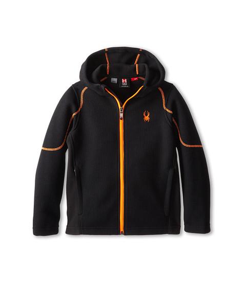 Spyder Kids - Upward Full Zip Hoodie Mid Weight Core (Big Kids) (Black/Black/Bryte Orange) Boy's Sweatshirt